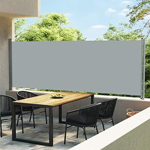 Tidyard Store Latéral Auvent Latéral Rétractable de Patio Paravent Extérieur Rétractable pour Terrasse ou Balcon 600x160 cm Gris