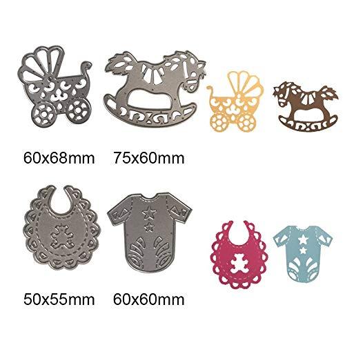 Baby Anzug Kutsche Schaukelpferd Schneidwerkzeuge Schablonen DIY Scrapbooking Karte Papier Handwerk Metall Dekor Präge Ordner Babyspielzeug