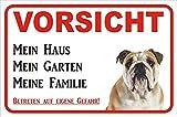 AdriLeo Schild - Vorsicht Englische Bulldogge Mein Haus (20x30cm)