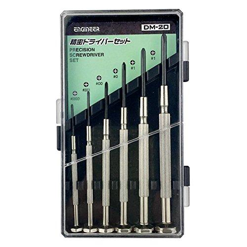 6piezas Set de destornilladores de precisión, los mini tamaños, Phillips (cabeza de cruz) con carcasa. Ingeniero DM-20