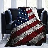 Olverz Tagesdecke mit USA-Flagge von Amerika, bequeme Sherpa-Flanell-Decke, warme Plüsch-Überwurfdecke, Anti-Falten, Mehrzweck-Decke für Kleinkinder & Erwachsene, 203 x 152 cm