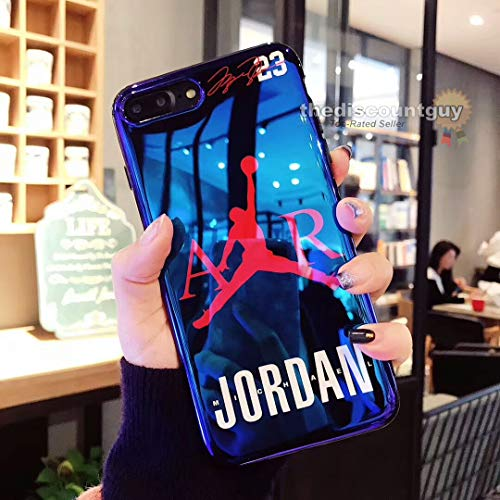 iPhone 6/6s - AIR Glossy Illuminated Jordan Case + Flexible TPU Soft Silicone Rubber Material & Modern 23 Blue & Black CD Design with Smooth, Shiny, Reflective Finish Phone Cover