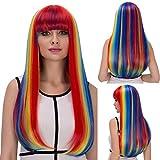 Peluca de pelo sintético con flequillo, multicolor para mujer, cosplay, fiesta, Halloween, resistente al calor