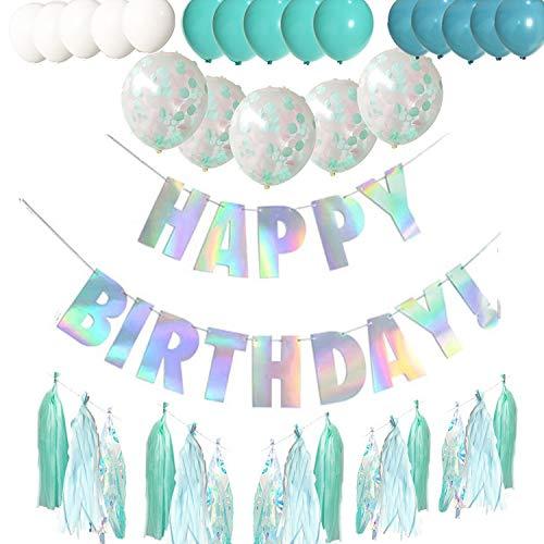 O CAT Geburtstagsdeko, Kindergeburtstag Deko 1 Girlande Alles Gute zum Geburtstag Happy Birthday + EIN Set mit 18 Quaste + 5 Transparente Konfettiballons + 15 Geperlte Ballons