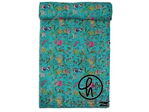 Handicrafts Plus King Size Baumwolle Kantha Quilt indische handgemachte Tagesdecke meergrün Ralli Hippie Überwurf Paradise Blumenmuster Decke Boho Gudari 228 x 274 cm