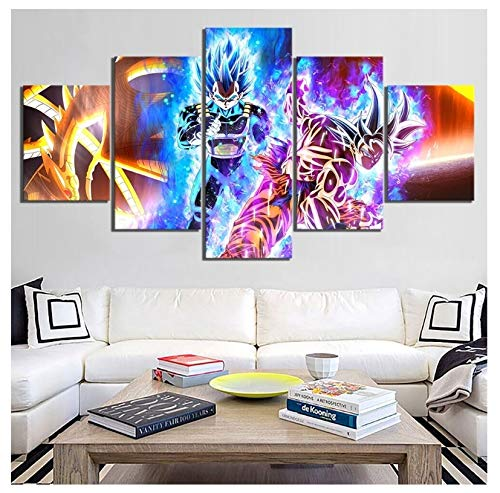 JIANGGE Imágenes Impresas Home Wall Art Poster 5 Panel, Dibujo síncrono Dragon Ball Canvas Living Room Decor, sin Marco, 30x40-30x60-30x80cm