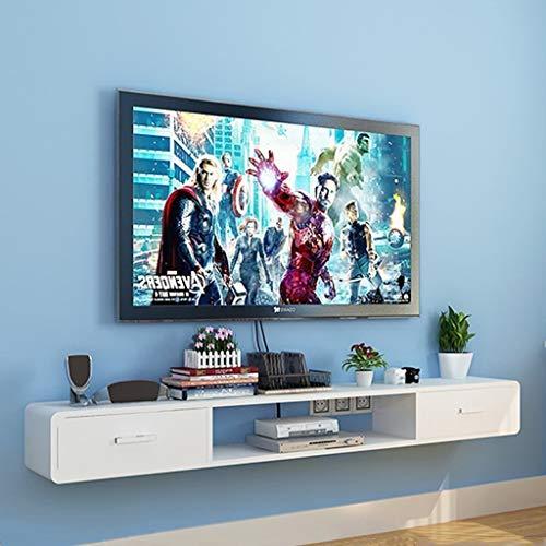 Meuble de télévision mural Étagère flottante Avec tiroir Étagère murale Lecteur DVD CD Étagère de rangement pour boîte de câble console TV Meuble de télévision suspendu (Couleur : Blanc)