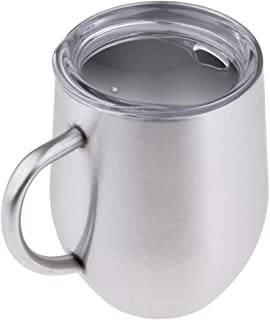 Baosity Stainless Steel Double-Wall Insulated Tumbler with Handle for Wine, Coffee, Drinks, Champagne, Cocktails