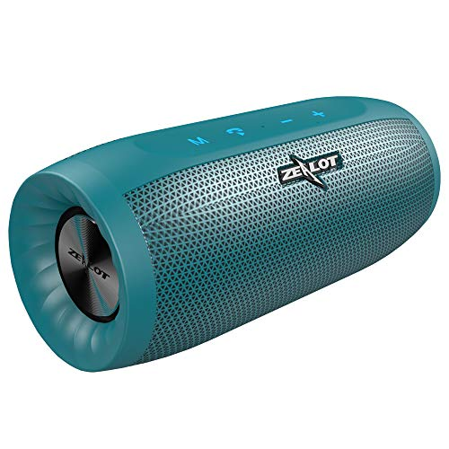 Cassa Bluetooth, Zealot Altoparlante Wireless, Stereo Potente, Portatili, Batteria 4000mah,20H Playtime, Bluetooth 5.0con Microfono, USB, TF Card, AUX per viaggi a casa Ciano