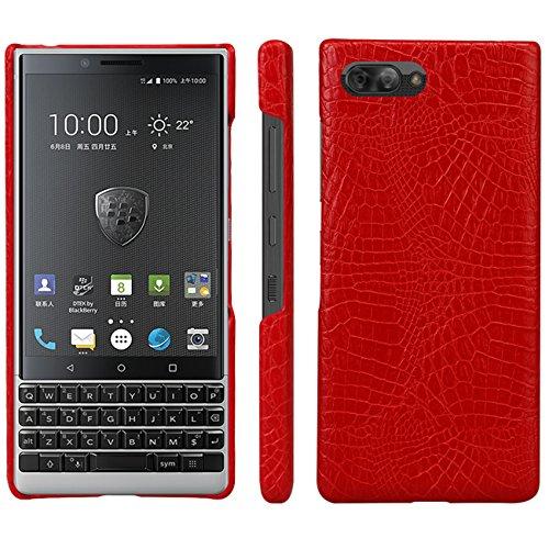 HualuBro BlackBerry KEY2 Hülle, Ultra Slim Premium Crocodile PU Leder Leather HandyHülle Tasche Schutzhülle Hülle Cover für BlackBerry Key 2 Smartphone (Rot)