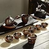 XYSQWZ Set da tè retrò in Gres Tirato A Mano Set da tè Antico Ed Elegante A Legna da Ardere Lanciato - Set da tè Elegante A Legna da Ardere 11 Teste