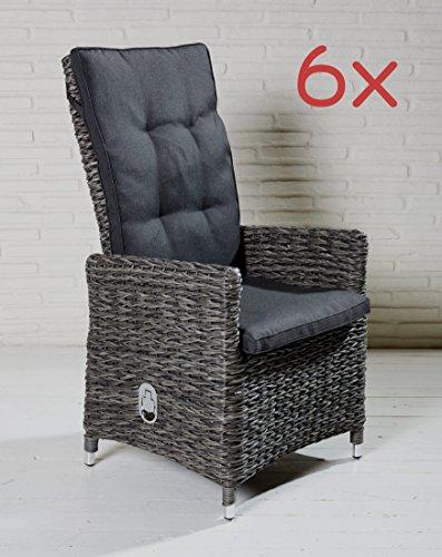 Wholesaler GmbH 6X tuinstoel Husum Dining positiestoel tuinstoel hoge rugleuning grijs aluminium poly rotan vlechtvlechtwerk - stoelset stoelgroep tuinmeubelen set