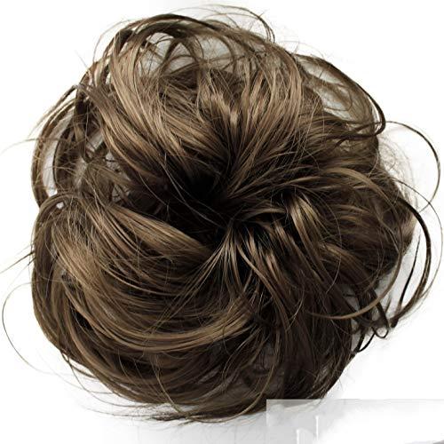 PRETTYSHOP Haarteil Haargummi Hochsteckfrisuren unordentlicher Dutt leicht gewell. Farbe: mittelbraun G7B