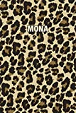 Mona: Personalized Notebook - Leopard Print (Animal Pattern). Blank College Ruled (Lined) Journal for Notes, Journaling, Diary Writing. Wildlife Theme Design with Your Name
