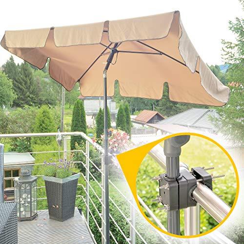 4smile Sonnenschirm Balkon + Sonnenschirmständer Set – Optimaler Sonnenschutz und Schatten für den Balkon – Komplett-Set aus Sonnenschirm rechteckig mit Sonnenschirmhalter Balkongeländer