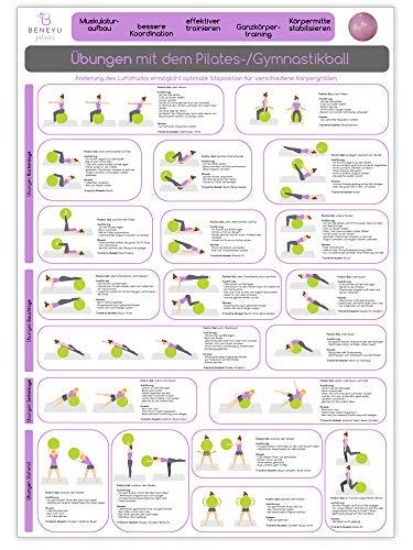 beneyu ® Pilates Poster für Pilates Ball & Gymnastikball groß in Deutsch, DIN A2 (60x42cm) Klimaneutrale Produktion - (auf A4 gefalzt) (gefalten, DIN A2)