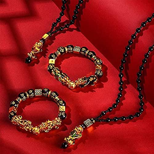MUGBGGYUE Feng Shui Pi Xiu Pi Yao - Juego de collar y collar, chapado en oro, cuentas negras chinas con amuleto tallado a mano para atraer riqueza y buena suerte (4 unidades)