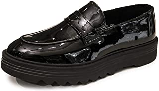 Bin Zhang Platform Penny Loafers for Men Slip-on Shoes Patent Leather Round Toe Solid Color Height Increasing Lug Sole Wear-Resisting Band (Color : Black, Size : 7 UK)