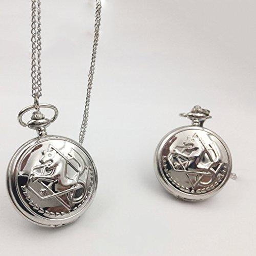 QB-Pocket watches Fullmetal Alchemist Black Deacon Reloj de Bolsillo Acero Reloj de Bolsillo Nostalgia Hombre Señora Estudiante Collar Reloj
