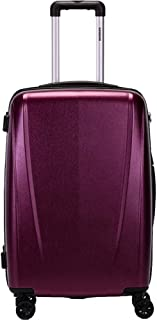 Stylish and Simple Trolley Case, PC Material with Zippered Luggage, and Universal Wheel Suitcase 20 Inches in The Chassis (Color : Purple)