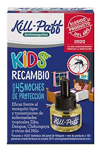 Kill Paff Kids| Insecticida Eléctrico| Antimosquitos |Eficaz Contra Mosquito Tigre y Transmisores de Enfermedades Tropicales |sin Olor|45 Noches de Protección |Contenido: 1 Recambio