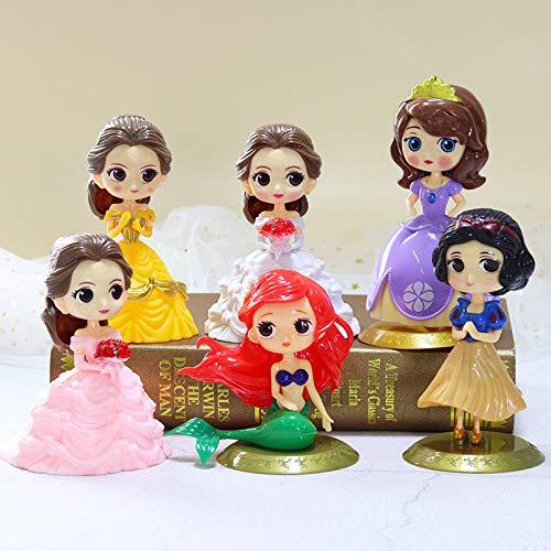 CYSJ Princesa Cake Topper 6Pcs Dibujos Animados Decoración de Tartas Figuras Decoración para Tarta de cumpleaños de Figuras de Dibujos Animados del Fiesta Suministros