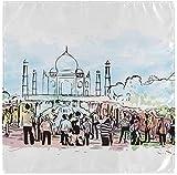 BONRI Juego de 6 servilletas de tela de Acuarela Taj Mahal, de poliéster lavable, servilletas de mesa de 50,8 x 50,8 cm para la familia, fiestas, bodas, restaurantes, cenas de vacaciones