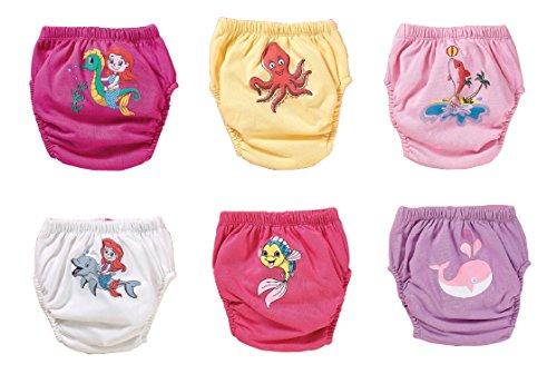 Ozyol - Juego de 6 pantalones de entrenamiento para aprender a ir al baño, reutilizables, pañales, para niños pequeños, ropa interior para aprender a ir al baño Mar para niña. 100 cm