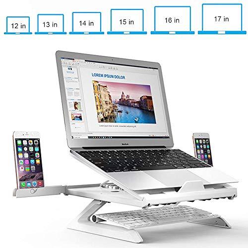 ZWMM Laptop ständer 17 Zoll verstellbar 9-einstellbare Höhe Externe Kühlsysteme mit eingebauten Beinen,Ergonomisch faltbar Kühlpads mit Handyhalter Weiß