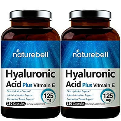 Maximum Strength Hyaluronic Acid Capsules with Vitamin E, 100mg,180 Counts, Powerfully Supports Antioxidant, Skin Hydration & Joints Lubrication. Non-GMO and Made in USA. (2 Pack)