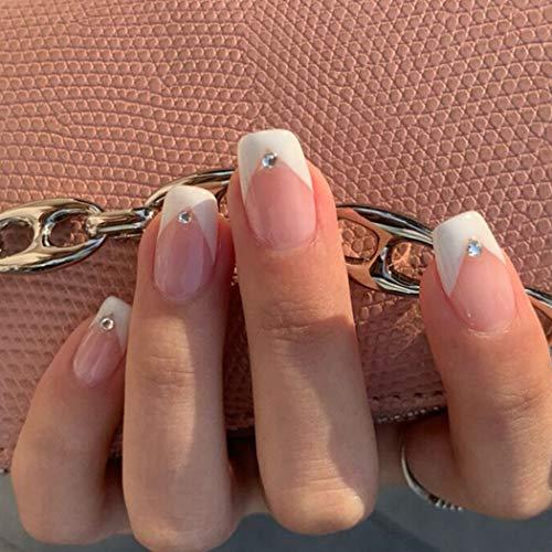 Feilisa French Fake Nails Short Press on Nails Square Crystal False Nails Prom Nails Full Cover Nails Tips 24pcs (French2)