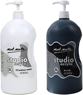 Mont Marte Discovery School Acrylic, Titanium White and Black, 1/2 Gallon (2 Liter). Ideal for Students and Artists. Excel...