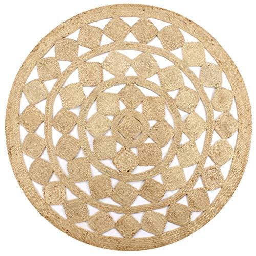 Ksodgun Tapis tissé en Forme de Fleur Fait à la Main pour Salon Chambre Tapis de Sol en Jute tressé antidérapant Pliable en Fibre de Jute Naturelle 90 cm