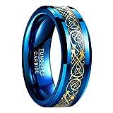 NUNCAD Anillo Hombre Mujer Parejas de Tungsteno Azul con Dragón Celta y Fibras de Carbono...