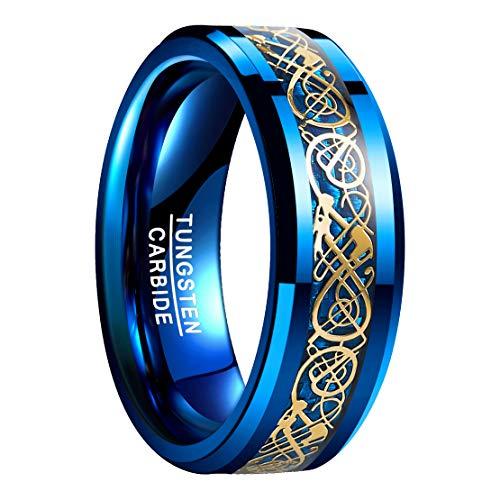 NUNCAD Wolfram Ring Herren/Damen blau keltisch 8mm + Blaue Kohlefasern, Wolfram Unisex Ring für Fashion, Alltag, Lifestyle und Hochzeit, Größe 62 (22)