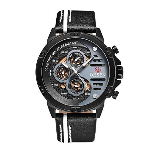 Herren Uhren, OHSEN TX2910 Herrenuhren Gold Quarzuhr Mode Uhr Wasserdicht Casual für Geschäftsleute (Weiß)