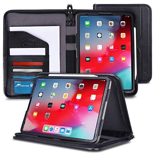 rooCASE iPad Pro 12.9 Case 2018, Premium Executive Portfolio Leather Case, Detachable Sleeve, Document Organizer for Apple iPad Pro 12.9-inch 2018 3rd Generation, Black [Support Apple Pencil Charging]