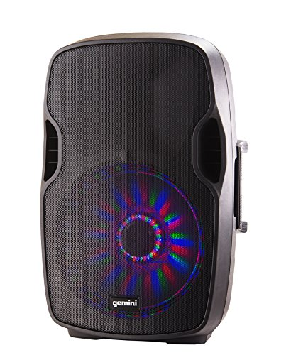 """Gemini Sound AS-15BLU-LT LED DJ Party Bluetooth Powered PA Loudspeaker w/ 2000W Watts Class AB Amplifier 15"""" Inch Woofer, SD, USB, with High/Low Equalization, Mic and Line XLR, 1/4"""", 1/8"""" & RCA inputs"""