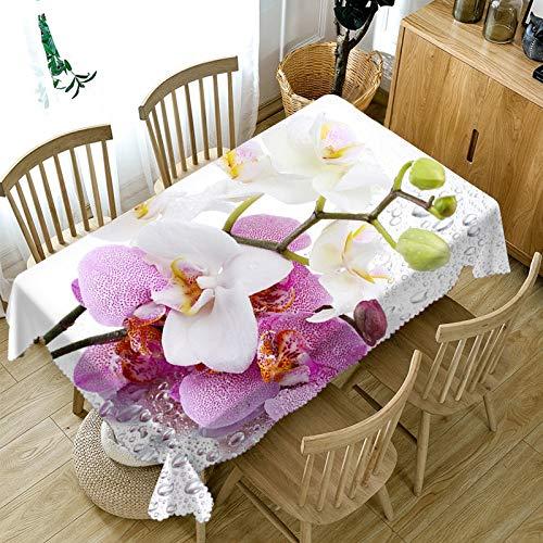 XXDD Mantel de Flores de Rosas 3D Mantel Rectangular de algodón Lavable a Prueba de Polvo para decoración de Boda variación A3