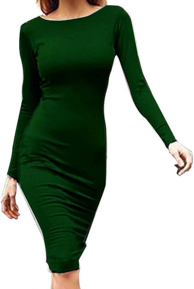 MAIERNISI JESSI Women's Back Zipper Slim Fit Long Sleeve Dress