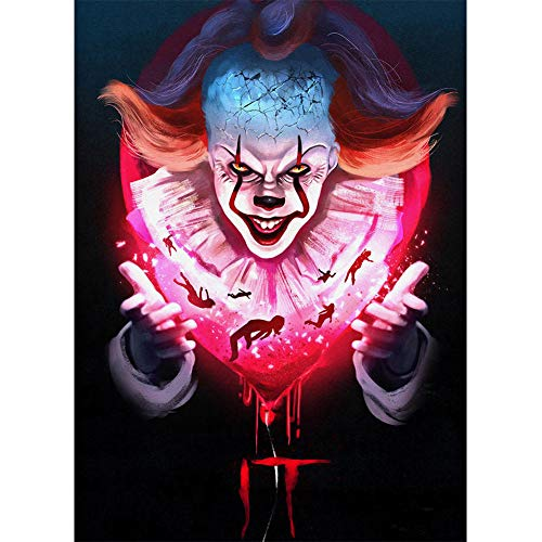 Diamond Painting Kits for Adults and Kids,DIY 5d Round Full Drill -Crystal Rhinestone Paint by Number Embroidery Cross Stitch,Movie Role Scary Clown Halloween Home Decor 11.8×15.7 inch