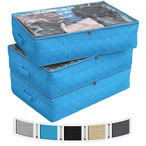NEATERIZE Under Bed Storage Bags | 3-Pack Underbed Clothing Organizer | Ultra Thick Fabric, Reinforced Handles & Zipper | Stackable Organization and Storage Containers for Bedroom [Aqua Blue]