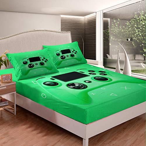 Gamepad - Juego de sábanas para niños, juego de videojuegos, juego de cama moderno con botones de acción para juegos y juegos para niños, consola de jugadores, funda de cama verde, tamaño doble