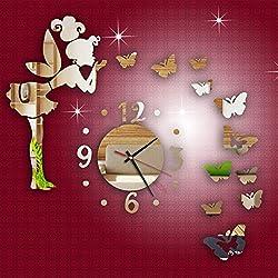 DIY Butterfly Fairy Mirror Clock Wall Stickers,Fashion Modern Acrylic Mirror Surface 3D Wall Sticker Home Decor 40X60cm (A)