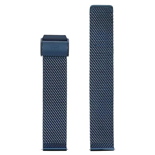 DETOMASO Uhrenarmband Milanaise Edelstahl-Armband dunkel blau 20mm mit Schnellwechsel Federsteg