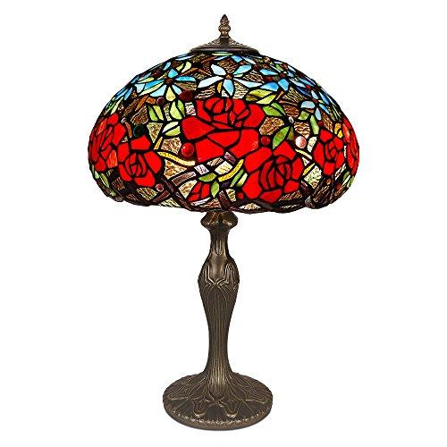 World Art TW60495 Lampes Style Tiffany Lampe de table floral, 60x37x37 Cm