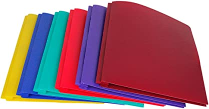 Lightahead Two Pocket Poly File Portfolio Folder with 3 Prongs Fasteners La-E293B, in Assorted Colors, Set of 6 Folders
