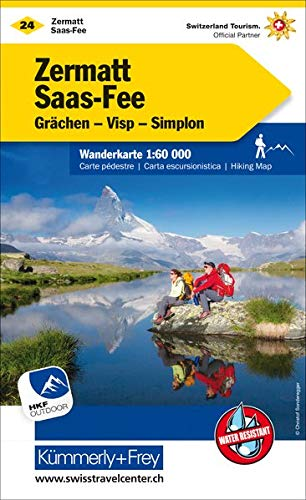 Zermatt - Saas Fee, Grächen, Visp, Simplon Wanderkarte: Nr. 24, Massstab 1:60000, waterproof, Freemap on Smartphone included (Kümmerly+Frey Wanderkarten)
