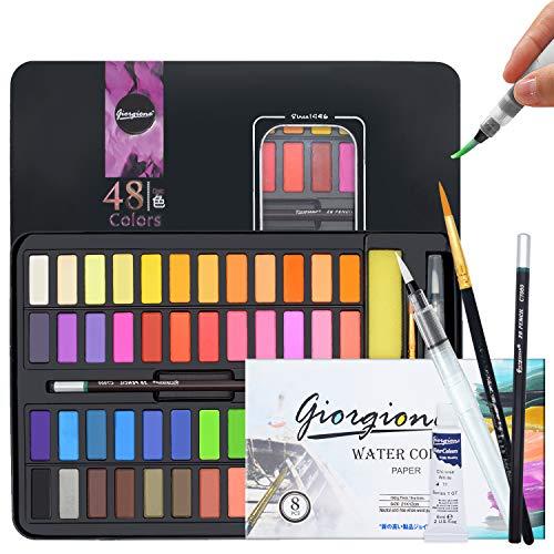 Aquarellfarben Set Aquarellfarbkasten Set ,48 Farben Pigment inkl. wasserlöslich und gut mischbar Aquarell-Farben-Set Perfekt für Anfänger und Profis