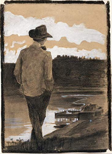 Berkin Arts Umberto Boccioni Giclee Canvas Print Paintings Poster Reproduction(Young Man on a Riverbank)